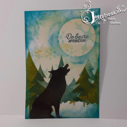 Card: Silhouette Green Wolf