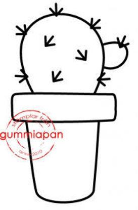 Afbeeldingen van Cactus -stempel met stans - Gummiapan - (normaal €6,00) - kopiëren