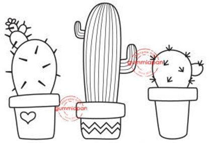 Afbeeldingen van Cactussen -stempel met stans - Gummiapan - (normaal €7,50)