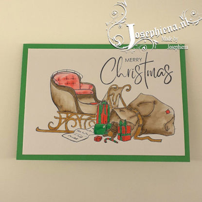 Kaart: Kerstslee met de zak van de kerstman