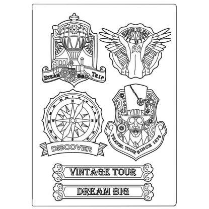 Stamperia Mixed Media Mould A5 Sir Vagabond Vintage Tour