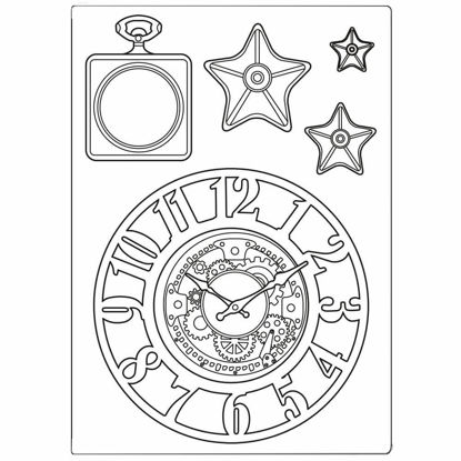 Stamperia Mixed Media Mould A5 Sir Vagabond Clocks and Stars