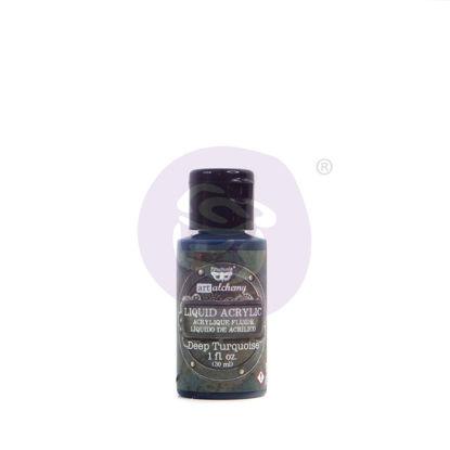 Finnabair Art Alchemy Liquid Acrylic Paint Deep Turquoise, 30 ml
