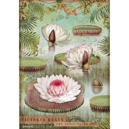 Stamperia Rice Paper A4 Amazonia Water Lily