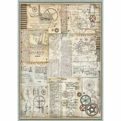 Stamperia Rice Paper A3 Voyages Fantastiques Gears