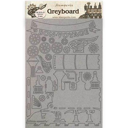 Stamperia Greyboard A4 Voyages Fantastiques Train