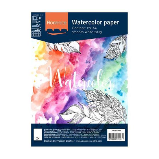 Florence • Aquarelpapier A4 smooth White 200gr 12 vellen