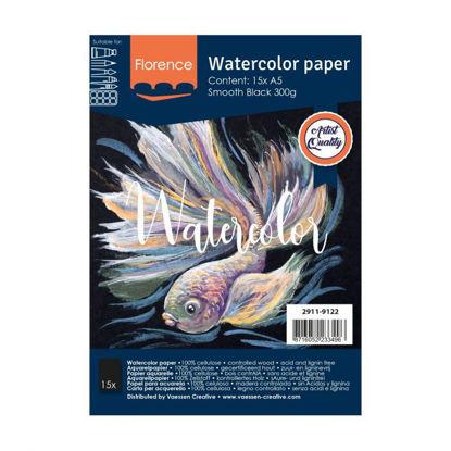 Florence • Aquarelpapier smooth Black A5 15pcs 300g