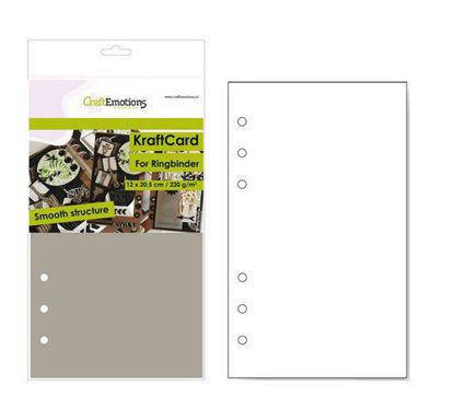 CraftEmotions karton kraft Ringband lichtbruin 12 vel 12x20,5cm - 220 gr - 6 Ring A5